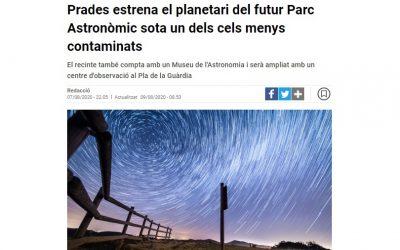 Prades estrena el planetari del futur Parc Astronòmic sota un dels cels menys contaminats