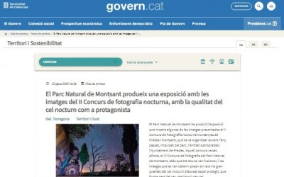 El Parc Natural de Montsant produeix una exposició amb les imatges del II Concurs de fotografia nocturna, amb la qualitat del cel nocturn com a protagonista